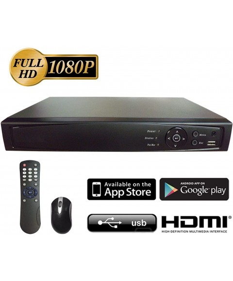 101AV 8CH Surveillance 1080P Full HD 2in1 H.265 DVR/NVR, HD-TVI/AHD/CVBS/IP, 2TB HDD, HDMI/VGA/BNC Video Out, Cell Phone APPs for Home & Office, Work w/ Analog and Network/IP Cam up to 4MP (no PoE)