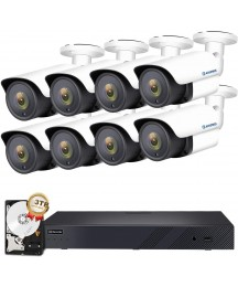AIHOWS 5Mp PoE Bullet Security Camera System with 4Pcs IP Surveillance Camera,8CH H.265+ NVR Home Surveillance Video System Cover 2TB HDD for 24/7 Sound & Video Recording (5mp 16+8)