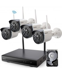 【Expandable 8CH, Audio】 ONWOTE 1080P Wireless WiFi Security Camera System with 1TB Hard Drive, 8 Channel NVR, (4) Outdoor 1080P 2.0MP IP Security Surveillance Cameras for Home, One-Way Audio