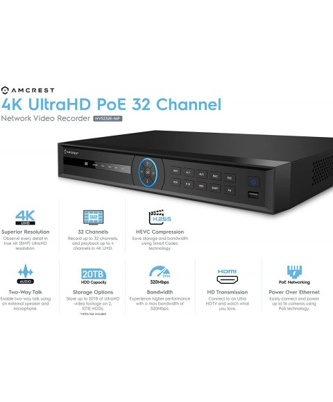 Amcrest 5Series 4K NVR 32-Channel NV5232E-16P 32CH 16-Ports PoE Recording (Record 32CH 4K @30fps, View/Playback 4CH 4K@30fps) Network Video Recorder - Supports up to 2 x 10TB Hard Drive (Not Included)