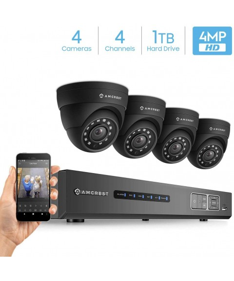 Amcrest UltraHD 4-Megapixel 4CH Video Security System with Four 4.0MP Outdoor IP67 Dome Cameras, 98ft Night Vision, Pre-Installed 1TB Hard Drive, (AMDV40M4-4D-B)