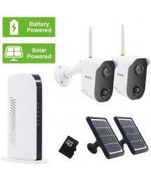 Alrolink Solar Powered Security Camera System,2 Wireless Battery Powered Camera and 2 Solar Panel,Night Vision,Indoor Outdoor,1080p,2 Way Audio,PIR Motion Sensor,4CH NVR Kit for Home Surveillance