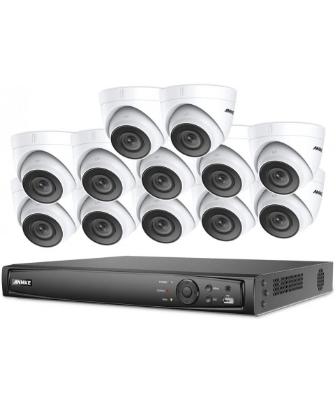ANNKE 1080P HD PoE Network Video Security System, 16CH 4K Surveillance NVR with H.265 Video Compression, (12) 1080P HD Weatherproof Cameras with Smart IR LEDs, APP Push Alert, Remote Access