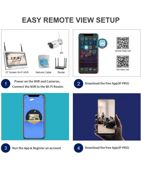1080P Home Security Camera System Wireless with 12 Inch Monitor WiFi Surveillance NVR Kits, 4 Channel WiFi Video Security System with 4Pcs 2.0MP IP Cameras,Free APP(No HDD)