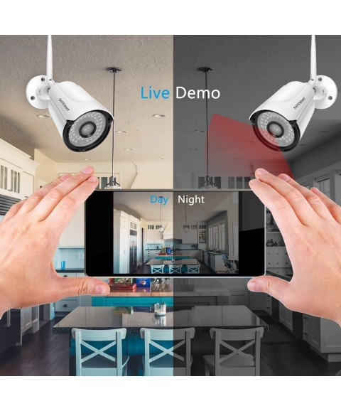 1080P Wireless Security Camera System with Monitor and 1TB Hard Drive,SAFEVANT 8 Channel Outdoor Indoor Wireless NVR Systems 4pcs 2MP Home Surveillance IP Cameras with Night Vision Motion Detection