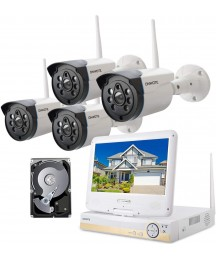 """【Expandable 8CH, Audio】 ONWOTE 1080P Wireless WiFi Security Camera System with 10.1"""" LCD Monitor and 1TB Hard Drive, 8-CH NVR, (4) 1080P IP Security Surveillance Cameras for Home, One-Way Audio"""