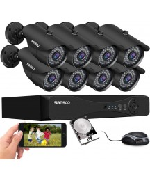 5MP 8CH SANSCO CCTV Security Camera System with 1TB Hard Drive, 8X 5MP 2K Outdoor HD Waterproof Camera, 8 Channel H.265 DVR for 24/7 Recording, Night Vision, Motion Detection, Phone PC Remote Viewing