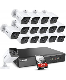ANNKE 16 Channel 2K Wired Security Camera System 4TB Hard Drive, 16CH H.265+ DVR with (16) 5MP Outdoor CCTV Cameras, 100ft Night Vision, Easy Remote Access