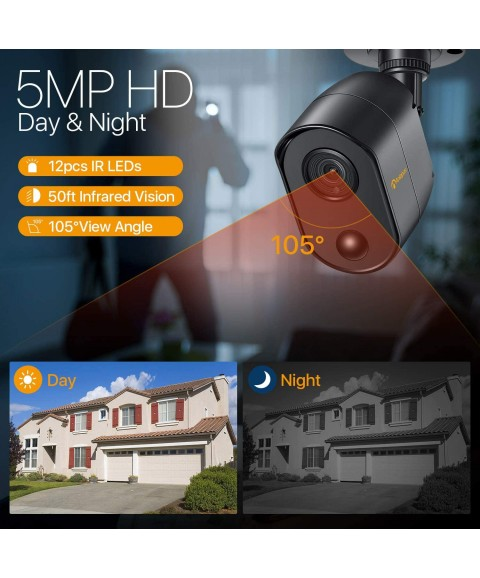 Anlapus H.265+ 5MP Home Security Camera System with 2TB Hard Drive, 8CH 4-in-1 Super HD 5MP Surveillance Video DVR Recorder with 8X 5 Megapixels Indoor Outdoor CCTV Cameras, Smart Motion Alert, Black