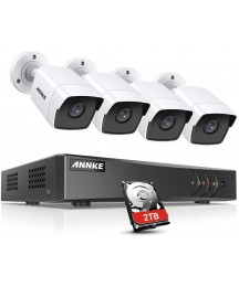ANNKE 5MP Home Security Camera System 8 Channel H.265+ DVR Recorder with 2TB HDD, 4X 5MP (2560TVL) Wired Outdoor CCTV Cameras, 100 ft EXIR Night Vision, Motion Detection & Remote Monitoring-S500