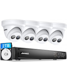 ANNKE 4K PoE Camera System 8MP Outdoor IP Cameras 2.8mm Wider Angle,4 Times 1080P Digital Zoom, 8CH H.265+ NVR Security System with 2TB HDD Store More Video, Easy Remote Access IP67 Weatherproof