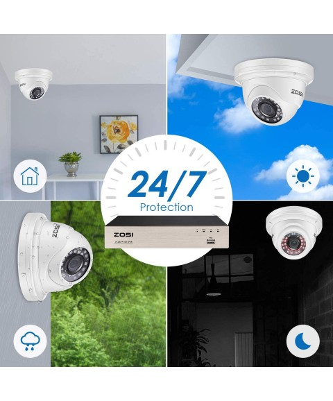ZOSI 8CH 5MP PoE Home Security Camera System with 2TB HDD, H.265+ 8Channel 5MP NVR Security System and 8pcs Wired 5MP Indoor Outdoor PoE IP Cameras with 80ft Night Vision,Motion Alert,Remote Access