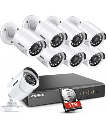 ANNKE 8CH Security Surveillance System H.265+ 5MP Lite Wired DVR and (8)×1080P HD Weatherproof CCTV Camera System, 100ft Night Vision,Easy Remote Access 1TB Hard Drive