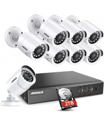 ANNKE Y200 Security Camera System, 16 Channel 5-in-1 HD DVR Video Recorder (2TB Hard Drive), 8pcs 1080P Outdoor Home Surveillance Cameras, CCTV Kits for Easy Remote Monitoring