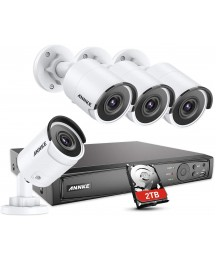 ANNKE H800 4K PoE Security Camera System,8CH PoE NVR and 4pcs Ultra HD 8MP Outdoor Wired IP Cameras 2TB HDD, Dual Night Vision Resistant to Extreme Weather, Easy Remote Access and Motion Detect