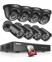 ANNKE 8CH Security System 2MP Lite DVR Recorder with 1TB HDD and (8) 1080P Weatherproof Camera with Super Night Vision, QR Code Scan, Plug & Play, HDMI Output-S300