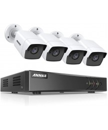 ANNKE 8-Channel 4K DVR CCTV Camera System and 4×5MP (2592 x 1920) HD Surveillance Bullet Cameras, Email Alert with Snapshots, Remote Access, IP67 Weatherproof (No HDD)