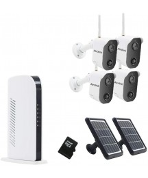 Alrolink Wireless Solar Powered Security Camera System 4CH NVR Kit,Night Vision,Indoor Outdoor,1080p,2-Way Audio,PIR Motion Sensor,4 Battery Powered Camera and 2 Solar Panel,for Home Surveillance