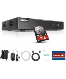 ANNKE Super HD 5MP Lite H.265+ 16-Channel DVR 5-in-1 Security Video Recorder with 2TB Hard Drive, Supports 24 IP Cameras for Home Business Surveillance, Remote Viewing, Motion Detection