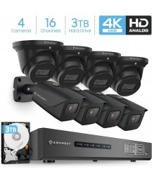 Amcrest 4K Security Camera System 16CH 8MP Video DVR with 8X 4K 8MP Indoor Outdoor Weatherproof IP67 Bullet & Dome Cameras, 2.8mm Lens, Pre-Installed 3TB HDD, for Home Business (AMDV8M16-4B4D-B-3TB)