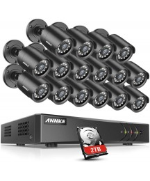ANNKE Y200 16CH Security Camera System, 1080P Lite H.264+ Surveillance DVR and 16pcs 1080P HD Weatherproof CCTV Camera with 2TB Hard Drive, View Remotely, Motion Detection