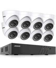 ANNKE 8CH 5MP PoE Home Security Camera System, 8X Wired 5MP Outdoor PoE IP Cameras, ANNKE C500 Turret Cam 100ft HD EXIR Night Vision, H.265+ 8 Channel NVR Security System, NO HDD