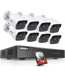 ANNKE 8CH 8 Camera Security System H.265+ DVR Recorder with 2TB HDD and 8X 5MP(2560TVL) IP67 Weatherproof Outdoor CCTV Bullet Cameras, 100ft Night Vision, Easy Remote Access and Email Alert