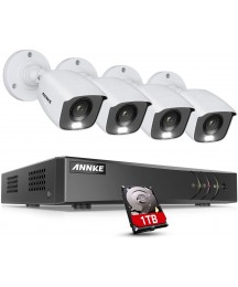 ANNKE 8CH 1080p Full Color Night Vision CCTV Camera System, H.265+ 5MP Surveillance DVR and 4pcs HD 1080p Security Cameras System for Home & Outdoor with Smart Array LED, 1 TB Hard Drive—FC200