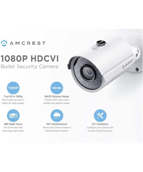 Amcrest Full-HD 1080P 8CH Video Security System w/Eight 2.0MP (1920TVL) Outdoor IP67 Bullet Cameras, 98ft Night Vision, Pre-Installed 1TB Hard Drive, (AMDV10818-8B-W-1TB)