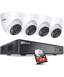 ANNKE 5MP Security Camera System 4pcs 5MP Wired CCTV Outdoor Cameras with PIR Sensor, 8CH H.265+ Video DVR Recorder with 2TB Hard Drive for Home Expandable Surveillance System-S500
