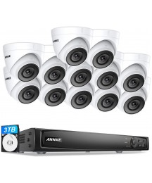 ANNKE 4K 16CH PoE Video Surveillance System, 8pcs Wired Turret Outdoor 5MP PoE IP Cameras, 16-Channel 4K NVR with 3TB HDD for Home and Business 24/7 Recording, ANNKE C500