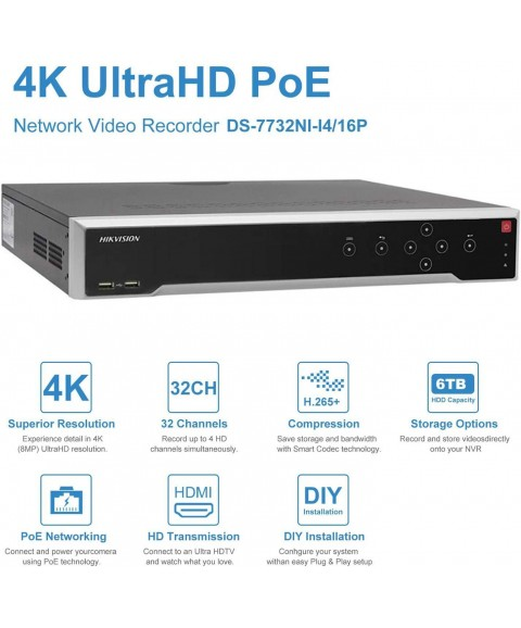 32 Channel (16-Channel PoE) Network Video Recorder - Supports 4K (12-Megapixels), ONVIF Compliance, USB Backup, Supports up to 32TB HDD (Not Included)(Version 2 - Updated Firmware) DS-7732NI-I4/16P