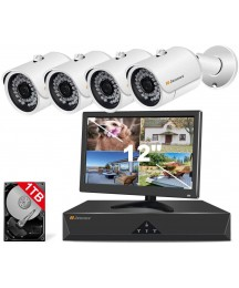 4CH PoE Surveillance Camera System,Jennov Video Security Camera System with Monitor & 4pcs Wired Outdoor 3MP PoE IP Cameras,3MP 4-Channel NVR with 1TB HDD for Home and Business 24/7 Recording
