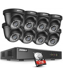 ANNKE Security DVR System 8 Channel 5MP Lite H.265+ DVR with 1TB HDD and (8) HD 1080P Weatherproof CCTV Dome Cameras, Smart Playback, Instant email Alert with Image-S300