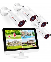 ANRAN 1080P Security Camera System Home Outdoor with 13Inch LCD Monitor DVR,4CH 5MP-Lite DVR with 1TB Hard drive 4Pcs 2.0MP Indoor Outdoor Wired Smart CCTV Camera,24/7 Recording,Easy Setup,Plug & Play