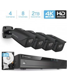 Amcrest 4K Security Camera System 8CH 8MP Video DVR with 4X 4K 8-Megapixel Indoor Outdoor Weatherproof IP67 Cameras, 2.8mm Lens, Pre-Installed 2TB Hard Drive, for Home Business (AMDV8M8-4B-B-2TB)