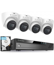 Amcrest 5MP Security Camera System, 4K 8CH PoE NVR, (4) x 5MP 2.8mm Wide Lens Weatherproof Metal Turret PoE IP Cameras, Built in Mic, Pre-Installed 2TB Hard Drive, NV4108E-IP5M-T1179EW4-2TB (White)