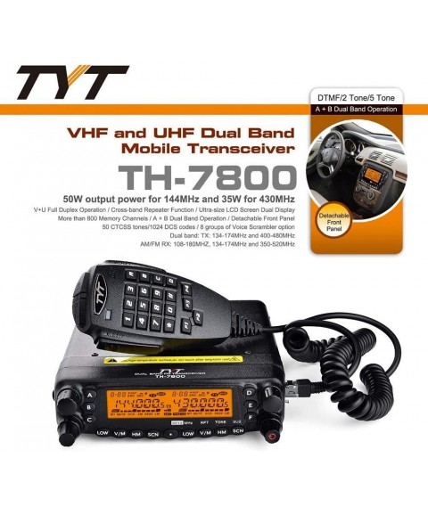 TYT TH-7800 50W VHF/UHF Dual Band Car Truck Ham Radio Base Station Mobile Transceiver Amateur Cross Band W/Programming Cable
