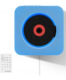 Accreate Wall Mountable CD Player Portable Bluetooth Music Player with Remote Control Blue