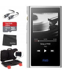 FiiO M9 Portable High-Resolution Lossless Wireless Music Player (Black) + microSDHC 32GB Card + Memory Card Hardcase + Stereo Cable (Silver)
