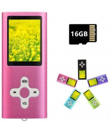 MP3 Player MP4 Player with a 16GB Micro SD Card, Runying Portable Music Player Support up to 64GB, Mini USB Port 1.8 LCD, with Photo Viewer, E-Book Reader, Voice Recorder & FM Radio Video(Light Pink)