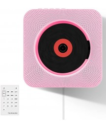 Accreate Wall Mountable CD Player Portable Bluetooth Music Player with Remote Control Pink